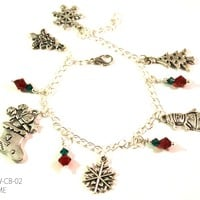Christmas Snowman, Santa and Snowflake Charm Bracelet with Swarovski Crystal Drops