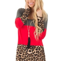 Charcoal and Animal Print Color Block Top