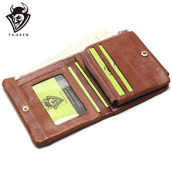 TAUREN 100% Genuine Leather Men Wallets OIL LEATHER Vintage Trifold Wallet Zip Coin Pocket Purse Cowhide Leather Wallet For Mens
