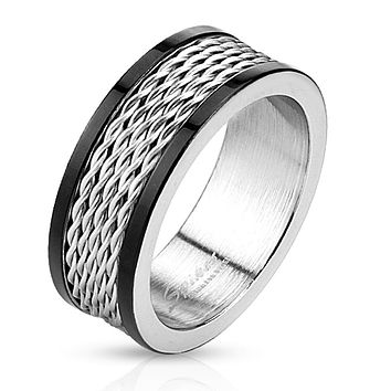 Multi Wire Center Stainless Steel Ring with Black IP Edges