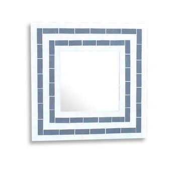 Mosaic Wall Mirror, Decorative Square Mirror in Beige and Grey Stripes, Vanity Mirror