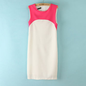 Vintage Round-neck Mosaic Sleeveless Vest Chiffon Slim One Piece Dress [4917881924]