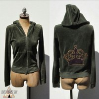 Juicy Couture Velour Green Hoodie Crown