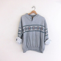 vintage thin heather gray sweatshirt. slouchy southwestern sweater. Henley pullover.