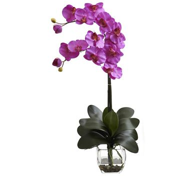 Silk Flowers -Double Phal Orchid With Vase Artificial Plant