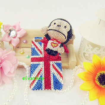 cute  monkey -3D iphone 4 case,Bling iphone 5 case,iphone 4s cover handmade