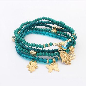 Blue Evil Eye Charms Bracelets & Bangles Multilayer Beads For Women