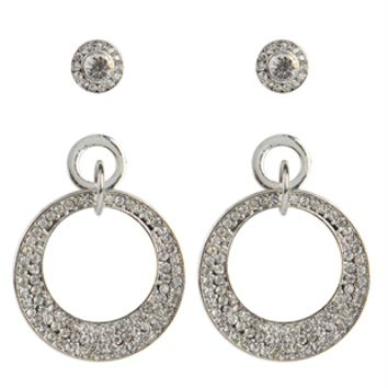 Set of 3 Dress Earrings with Etched Hoops and Stone Studs