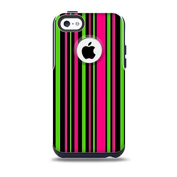 The Pink & Green Striped Skin for the iPhone 5c OtterBox Commuter Case