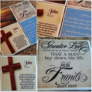 Bible Verse Art, Scripture Coaster Set and Decorative Tiles, Wall Art, John 15:13 , Psalms 23 , Christmas Gift, Keep Christ in Christmas