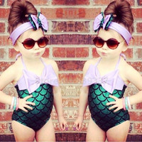 2016 New Lovely Girls Kids Clothes Little Mermaid Biquini Swimming Clothing Suit + Handband Princess Summer Costume Sets