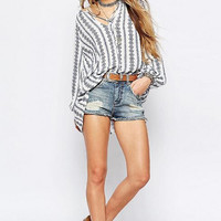Striped Lantern Sleeve Loose  Shirt 13115