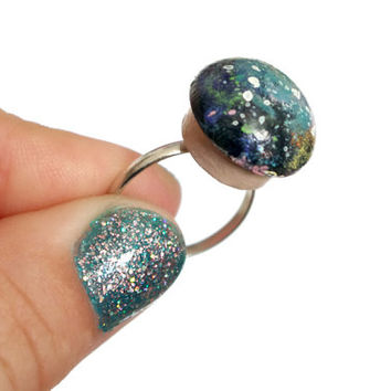 Mushroom Galaxy Ring - Galaxy Ring - Space Ring - Adjustable - Weird Jewelry - Kawaii - Cute Accessories - Hipster Rings - Hand Painted