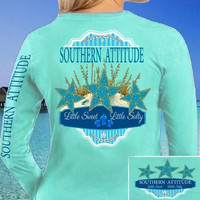 SALE Country Life Outfitters Southern Attitude Mint Starfish Vintage Girlie Bright Long Sleeve T Shirt