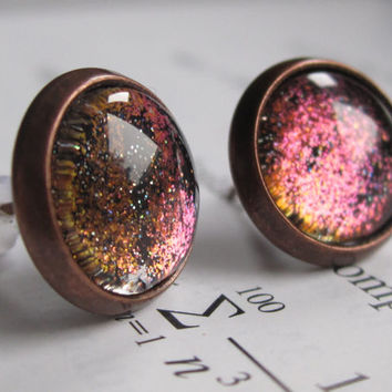 Fermilab - Earring studs - science jewelry - science earrings - galaxy jewelry - physics earrings - fake plugs - plug earrings - nebula stud