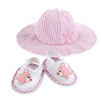 Baby Aspen Coastal Cutie Sun Hat & Spa Booties Gift Set in Pink