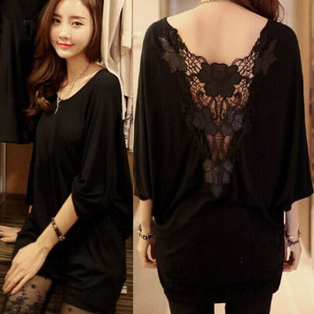 sexy lace patchwork backless hollow out women summer batwing shirt blouse = 1946916420