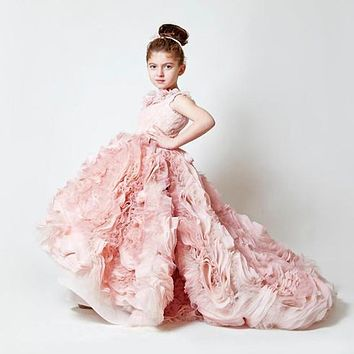 Blush Pink Sleeveless Ruffles Flower Girl Dress Little Princess Ball Gown First Communion Dress