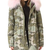 Camo Coat with Fur Trim