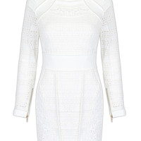 White Long Sleeve Zipper Detail Lace Mini Bodycon Dress