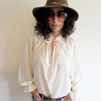 Vintage 60s 70s Cream Semi Sheer Lace Oversize Sleeves Hippie Boho Poet Blouse Shirt
