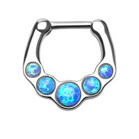 Five Opal Gems Septum Clicker Ring