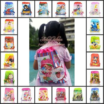 1Pcs hot sale popular Non-woven fabrics cartoon drawstrings Backpack Bags,kid party favors/gifts 27X35CM,mixed 30 Sorts