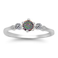Sterling Silver Simulated Mystic Rainbow Topaz & Cz Ring