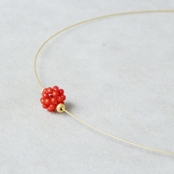 Red coral ball minimal necklace, coral and gold plated silver choker on a gold wire
