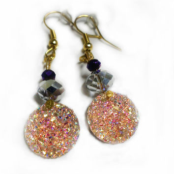 Sparkly Dangle Earrings - Druzy Earrings Glitter Coral Pink Gold Jewelry Statement Rainbow Jewelry Fashion Jewelry Set Circle Large Girly