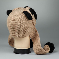 Knitted handmade original amusing lovely cute warm woolen winter hat Pug present