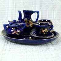 Miniature China Tea Set in Blue