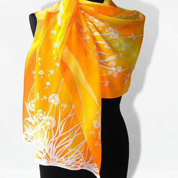 Silk Scarf long - Dandelions & Birds - silk scarves hand painted for summer - orange gold white yellow - woman accessories