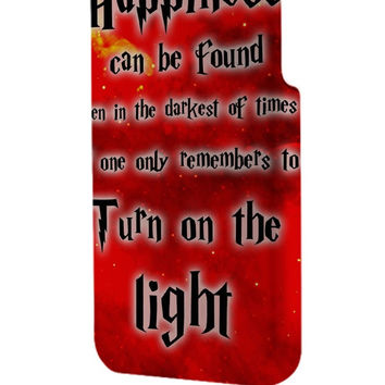 Best 3D Full Wrap Phone Case - Hard (PC) Cover with Harry Potter Quotes Happiness Can be Found Even in The Darkest of Times If One Remembers Design
