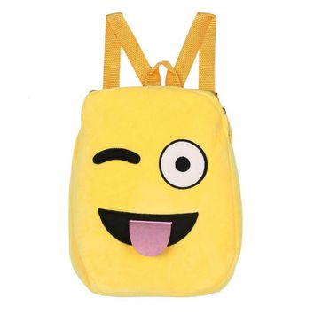 Optional Plush backpack toys for children Cute Emoji Emoticon Shoulder School Child Bag Backpack Satchel Rucksack