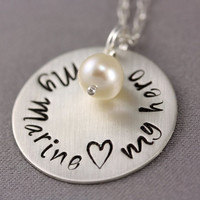 My Marine, My Hero Necklace - Sterling Silver Chain, Stamped Disc, White Pearl Dangle