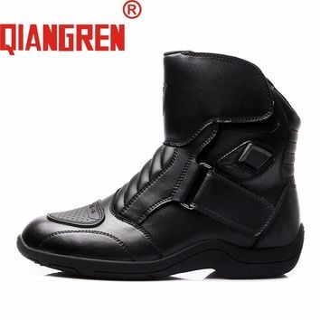 QIANGREN High-grade Quality Military Factory-direct Men's Black Leather Motorcycle Boots Autumn Outdoors Safety Shoes Botas
