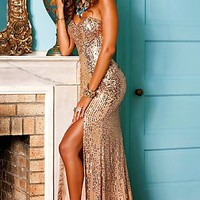 Strapless Sequin Gown by Shail K