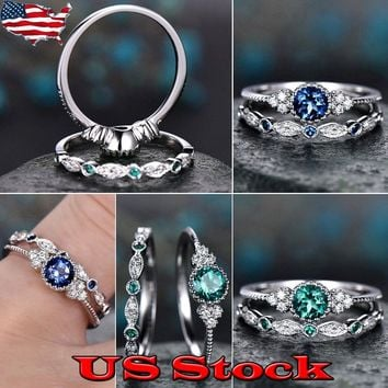 Women's Grandmother Zircon Engagement Rings Green Blue Wedding Promise Gifts US