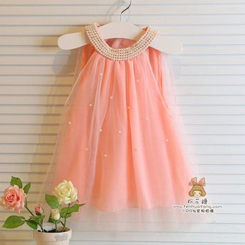 Girl's dresses summer style children's dress fashion baby girls Pure color pearl collar Tutu Princess Dress for kids clothing