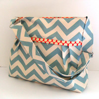 Diaper Bag  Made of Summerland Blue Chevron r - Adjustable Strap and Elastic Pockets