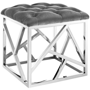 Intersperse Ottoman, Silver Gray -Modway