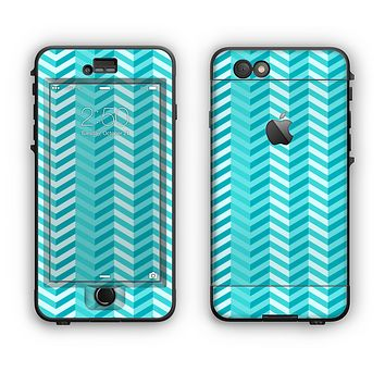 The Light Blue Thin Lined Zigzag Pattern Apple iPhone 6 Plus LifeProof Nuud Case Skin Set