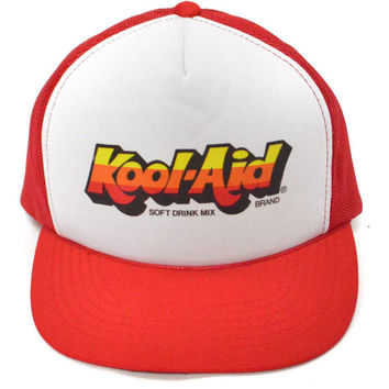 Vintage 80s Kool-Aid Brand Soft Drink Mix Promotional Mesh Baseball Cap Trucker Hat