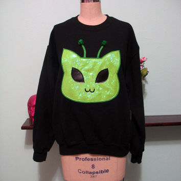 Holographic Alien Kitty Cat Martian Kitten Oversized Sweatshirt