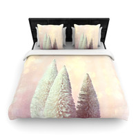 "Sylvia Cook ""Bottle Brush Trees"" Pink Woven Duvet Cover"
