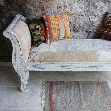 Shabby Chic White Bench Made with Overdyed Vintage Rug,Wooden Furniture Asymmetry/CUSTOM MADE