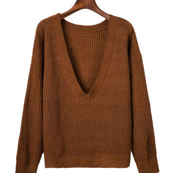 Deep V Neck Sweater in Ribbed Knit