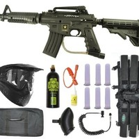 US Army Alpha Black Tactical Paintball Marker Gun Sniper Set - Black