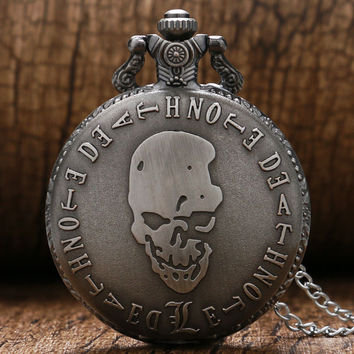 Hot Animation Death Note Cosplay Gray Color Quartz Pocket Watch With Pendant Necklace Free Shipping